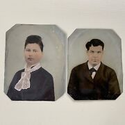 Pair Of Antique Tintype Photographs Man And Woman Couple Hand Painted Full Plate