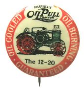 C.1896 Rumely Oil Pull 12-20 Tractor 1.25 Farming Pinback Button W/back Paper