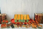 Antique German Noah's Ark Toy On Wheels Wooden 32 Animals Noah And Wife