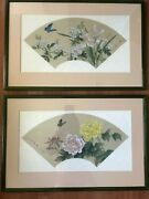 A Pair Of Fan-shaped Chinese Watercolor Painting On Silk Butterfly And Flowers