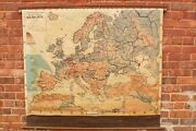 1941 Cramand039s Europe Map School Pull Down 54 1/2 By 50 Wwii Mounts Functions