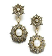 Floral Long Statement Earrings 925 Sterling Silver Gold Plated Pearl Cz Jewelry