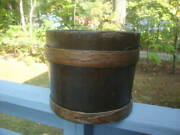Antique Wood Primitive Firkin Bucket Syrup Farm 2 Finger Banded Pail Used Beauty