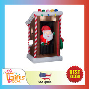 Gemmy Animated Christmas Inflatable Santa's Outhouse 6 Ft Tall New