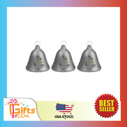 Set Of 3 Musical Lighted Silver Bells Christmas Decorations 6.5 Inches New
