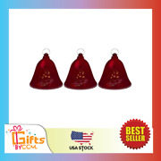Set Of 3 Musical Lighted Red Bells Christmas Decorations 6.5-inches