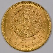 1959 Mexico 20 Pesos Gold Coin Mexico City Mint With Aztec Sunstone