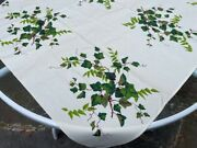 Nos Vintage Wilendur Tablecloth Green Ivy Cotton W/tag Never Used Bright Colors