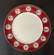 New Set Of 2 Williams Sonoma 12 Days Of Christmas Dinner Plate With Red Trim