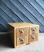 Vintage Gaylord Bros 4 Drawer Library Card File Catalog - Wood File Cabinet