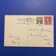 Antique Holiday Postcard With George Washington 2 Cent Stamp - Postmarked 1925