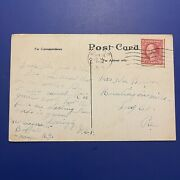 Antique Postcard With George Washington 2 Cent Stamp - Postmarked 1918