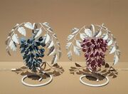 Vintage Pair Of Shaby Chic Leaves Flowers Lamps Set Of 2