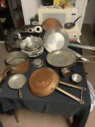 Copper Pots And Pans W/ Tin Lining And Bronze Handle, Made In France