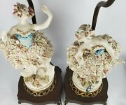 ❤✋set Of 2 Antique Italian/italy Porcelain Ballerina Electric Table Lamps✋❤