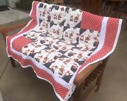 Gnome Christmas Quilt Gnomes Quilt Throw Handmade Bears Reindeer Moose Cotton