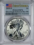 2019 S American Silver Eagle Pcgs Enhance Reverse Pr70 - First Strike Ogp And Coa