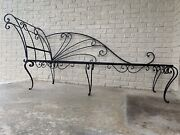 Huge Antique 1800s Wrought Iron Victorian Chaise Lounge