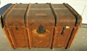 Amazing Tall Wood And Brass Banded Antique Steamer Trunk Wooden Bands Stickers