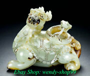 4 Old China Hetian Jade Carving Dynasty Palace Dragon Turtle Snake Statue