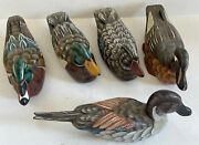 Lot Of 5 Antique/vintage Hand Carved And Painted Wooden Wood Duck Decoys