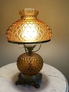 Vintage Fenton Quilted Beaded Diamond Amber Gwtw Hurricane 3-way Table Lamp