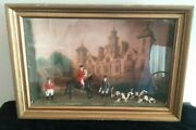 Foxhunting Diorama Made W/ Britains Lead Figures, Horse Hound, Sizergh Hall