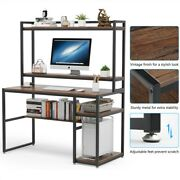 Modern Computer Writing Desk With Hutch And Shelves Gaming Table With Cpu Stand