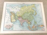1891 Antique Map Of Asia The Orient Far East India China Tibet Old 19th Century
