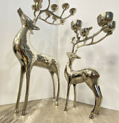Reindeer Candelabra 10-candle Holder 20andrdquotall 4-candle Holder 13andrdquo Heavy