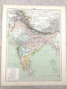 1894 Antique Map Of India Indian Sub Continent Old Original 19th Century French