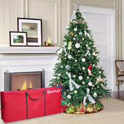 7ft Artificial Christmas Tree With Decorations Ornaments Led Lights And Storage