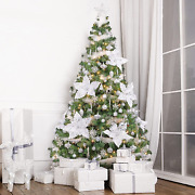 Wbhome 6 Feet Pre-lit Artificial Christmas Tree With Ornaments, Snow White Chris