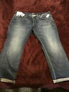 Womens Plus Size 22 Silver Dark Wash Jeans With Back Pocket Details And Roll Cuffs