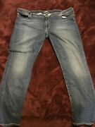 Womens Plus Size 24 Silver Dark Wash Jeans With Back Pocket Details