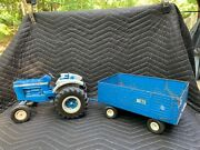 Vintage Ertl Ford 8000 Toy Tractor And Wagon Blue And White