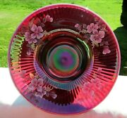 Fenton Plum Opalescent Floral Ooak Footed Bowl 9.25w X 5h Rare