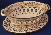 Antique 19thc Staffordshire Hanley Wilson Creamware Reticulated Basket And Stand