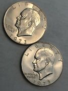 Lot Of Two Bu Eisenhower Ike Dollars. 1973 And 1973-d. Tough Pair L10