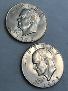 Lot Of Two Bu Eisenhower Ike Dollars. 1973 And 1973-d. Tough Pair L12