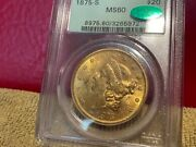1875 S 20 Gold Liberty Type 2 Pcgs Ogh Ms60 Cac