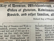 Suffolk Genealogy- Ray Of Denston Wickhambrook Etc, Oakes Of Nowton Hasted 1906
