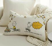 Nwt Pottery Barn Peanuts Fall Leaves Lumbar Pillow Cover Lucy Sold Out