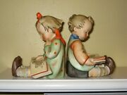 Vintage Hummel Bookends Book Worm 14a And 14b 1950 Noch Ein Fabrikat Label Rare