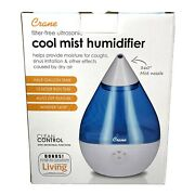 Crane Filter- Droplet Ultrasonic Cool Mist Humidifier Blue N White