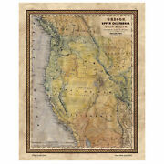 Great River Arts California Map Print Poster-unframed Wall Home Decor And Gift