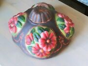 Vintage 14 Heavy Relief Dome Glass Lamp Shade 4 Unique Floral Panels