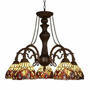 Capulina Chandeliers 5-light X7 Stained Glass Shade Antique Style Pe...