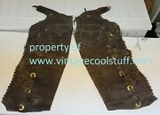 Antique American Cowboy Chaps 6 Studded Stars With Pockets