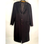 Brown Wool Overcoat Coat 52r Super Soft Single Breasted